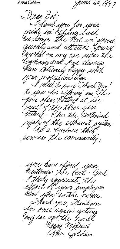 Letters Of Appreciation